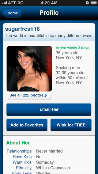 match.com mobile screen