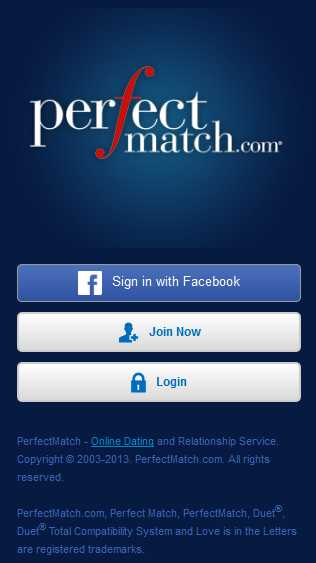 Perfectmatch.com mobile screen