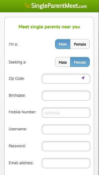 Singleparentmeet.com mobile screen